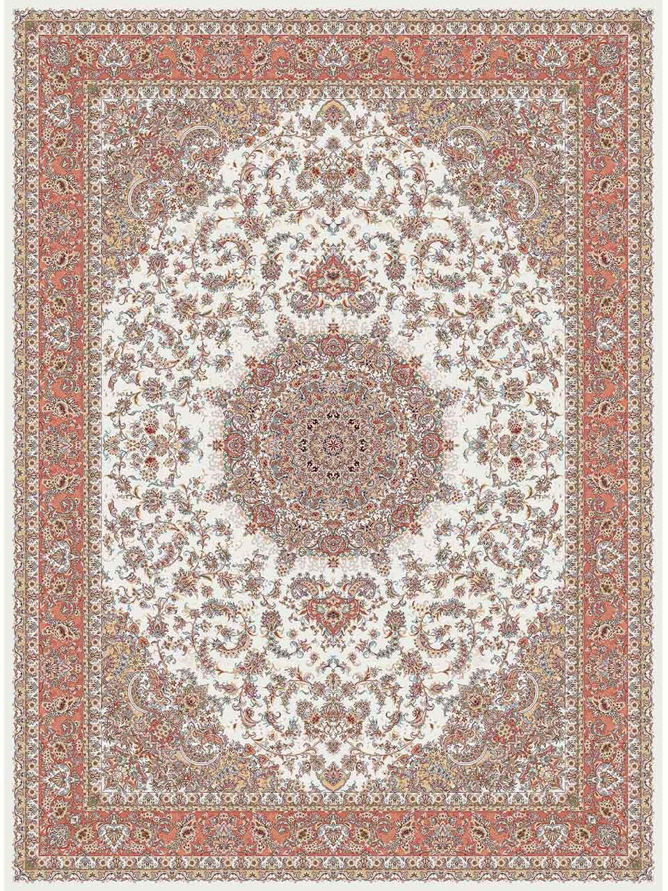 فرش (14003) اکریلیک - 8 رنگ - 700 شانه - كرم - تراکم 2100