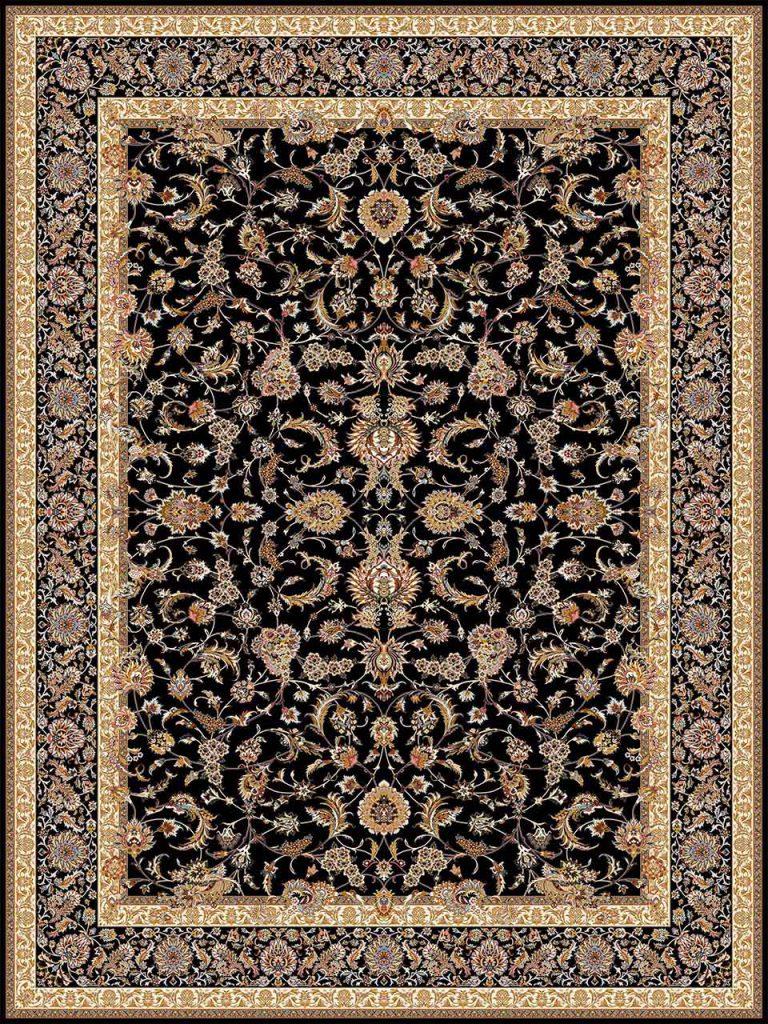 فرش (14009) اکریلیک - 8 رنگ - 700 شانه - مشكي - تراکم 2100