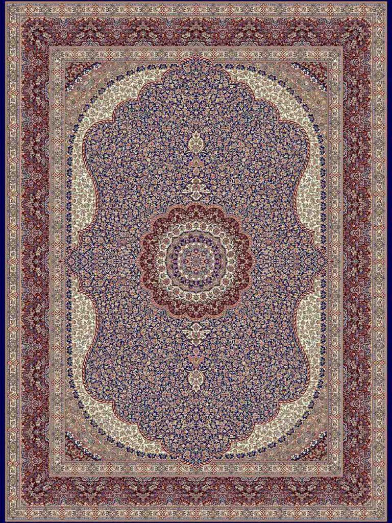 فرش (14010) اکریلیک - 8 رنگ - 700 شانه - سورمه اي - تراکم 2100