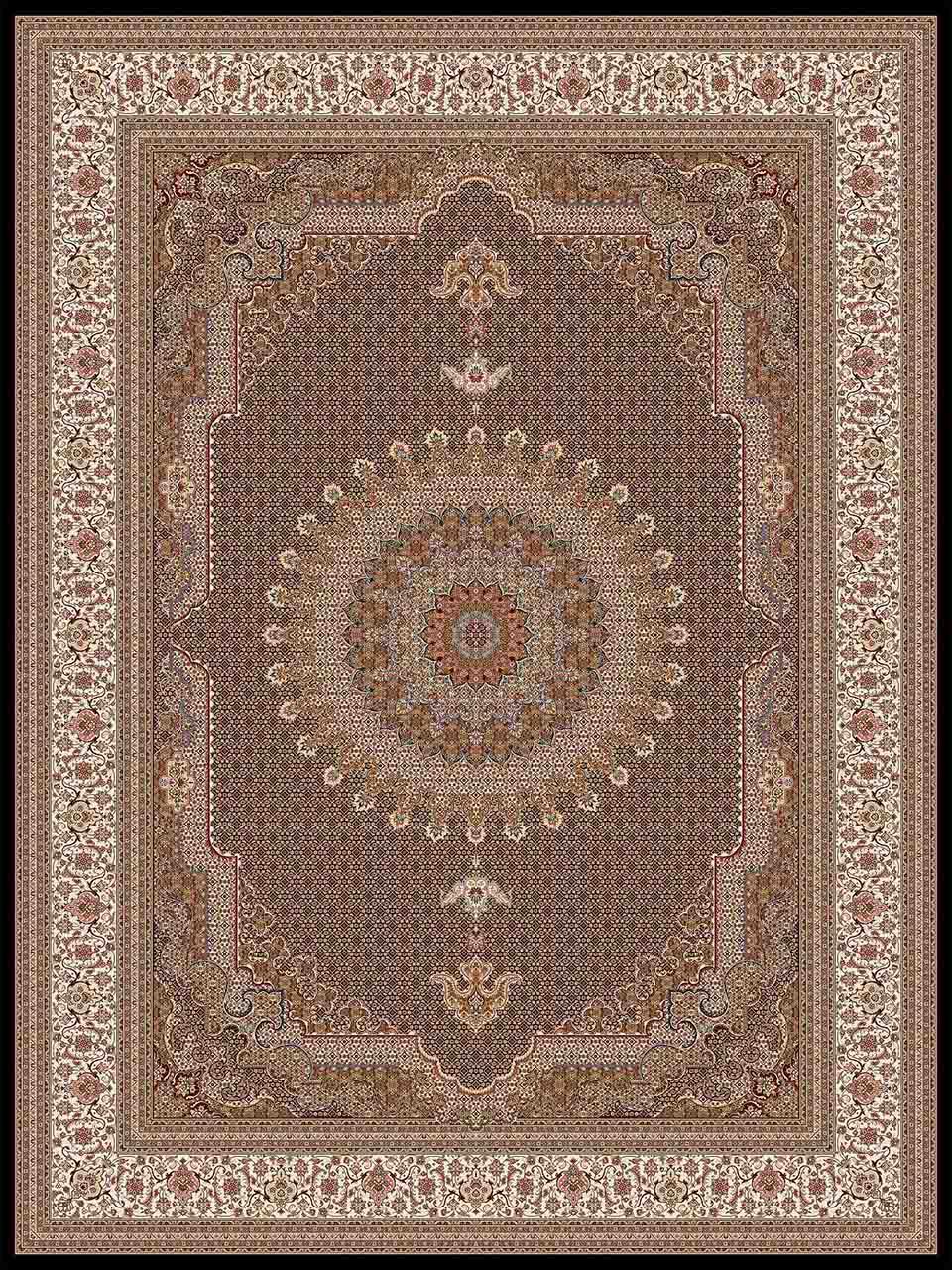 فرش (14013) اکریلیک - 8 رنگ - 700 شانه - مشكي - تراکم 2100