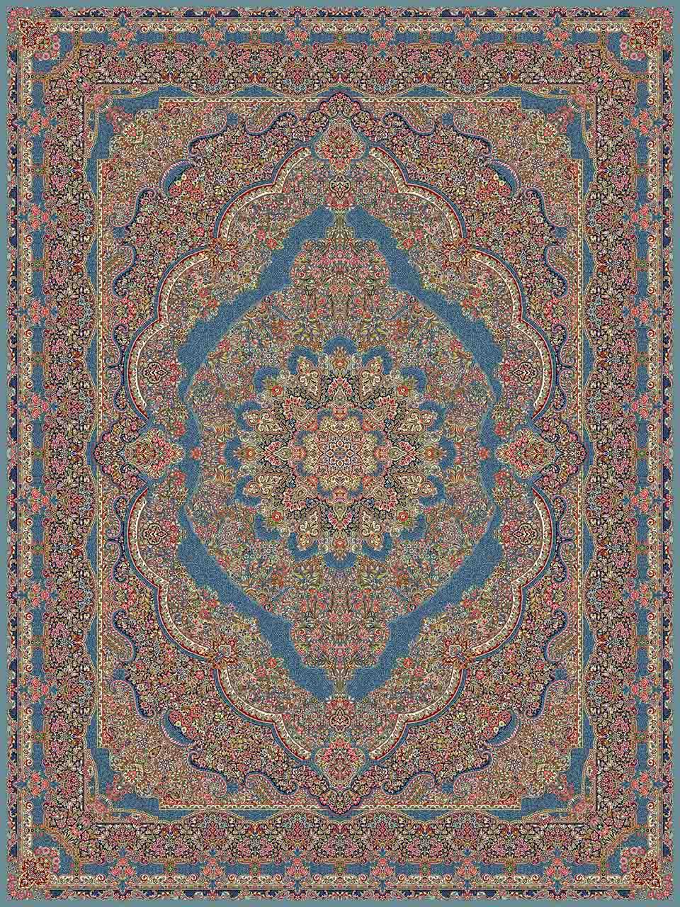 فرش (14066) اکریلیک - 8 رنگ - 700 شانه - آبي - تراکم 2100
