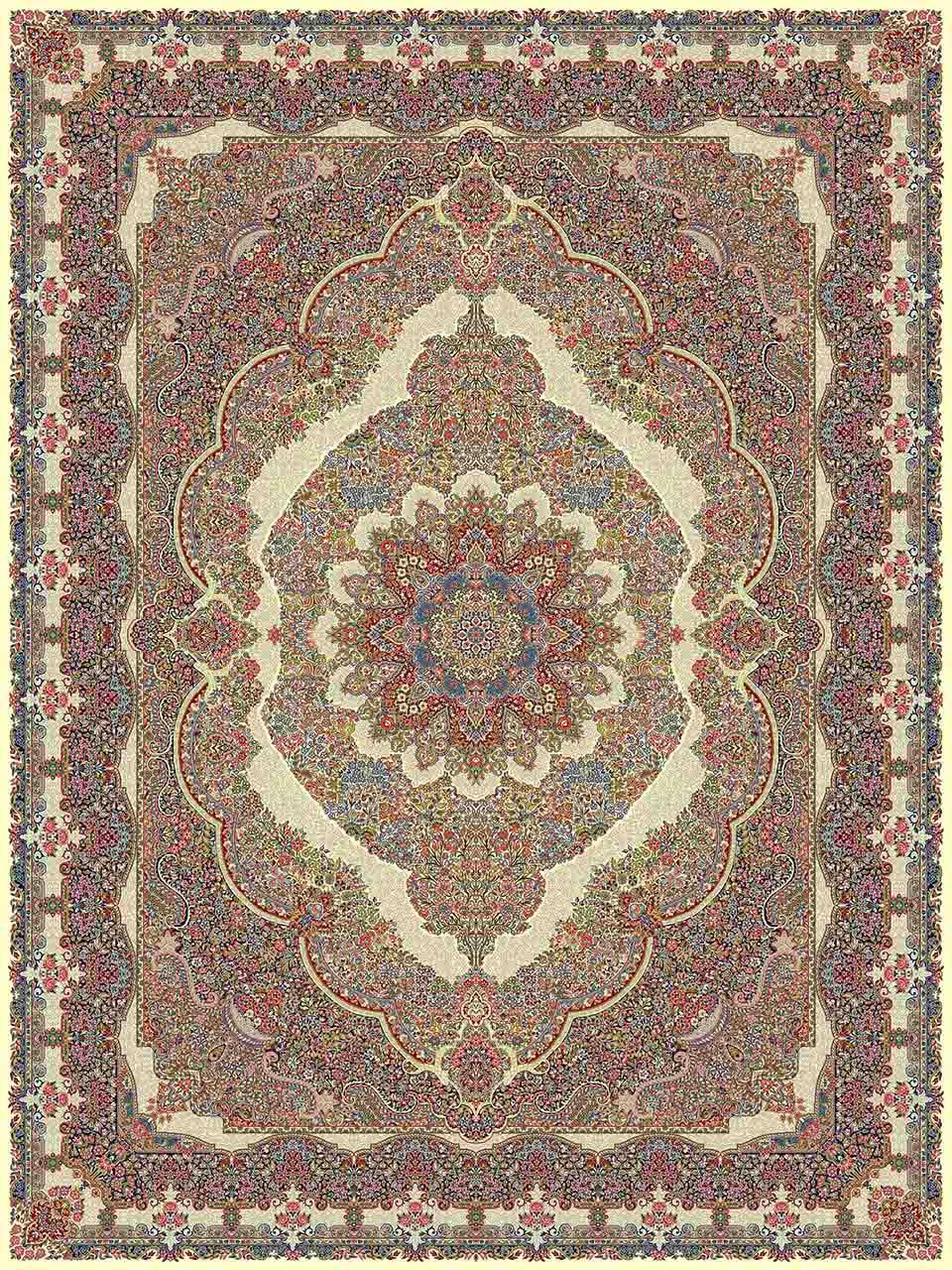 فرش (14066) اکریلیک - 8 رنگ - 700 شانه - كرم - تراکم 2100