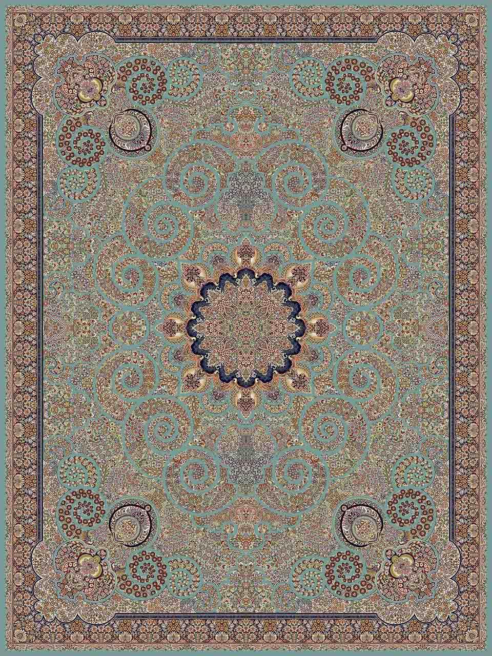 فرش (14067) اکریلیک - 8 رنگ - 700 شانه - آبي - تراکم 2100