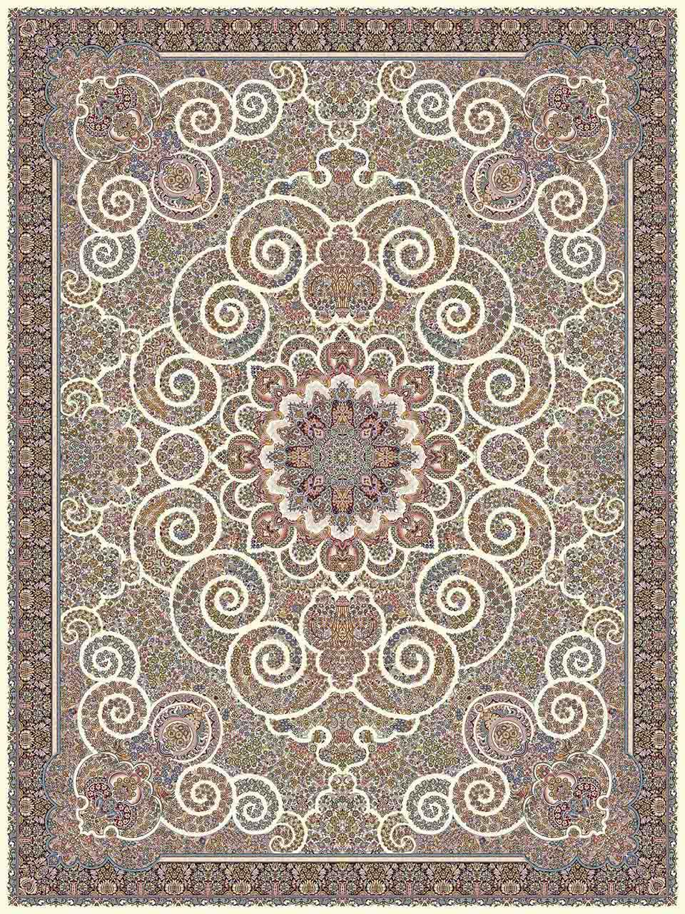 فرش (14067) اکریلیک - 8 رنگ - 700 شانه - كرم - تراکم 2100