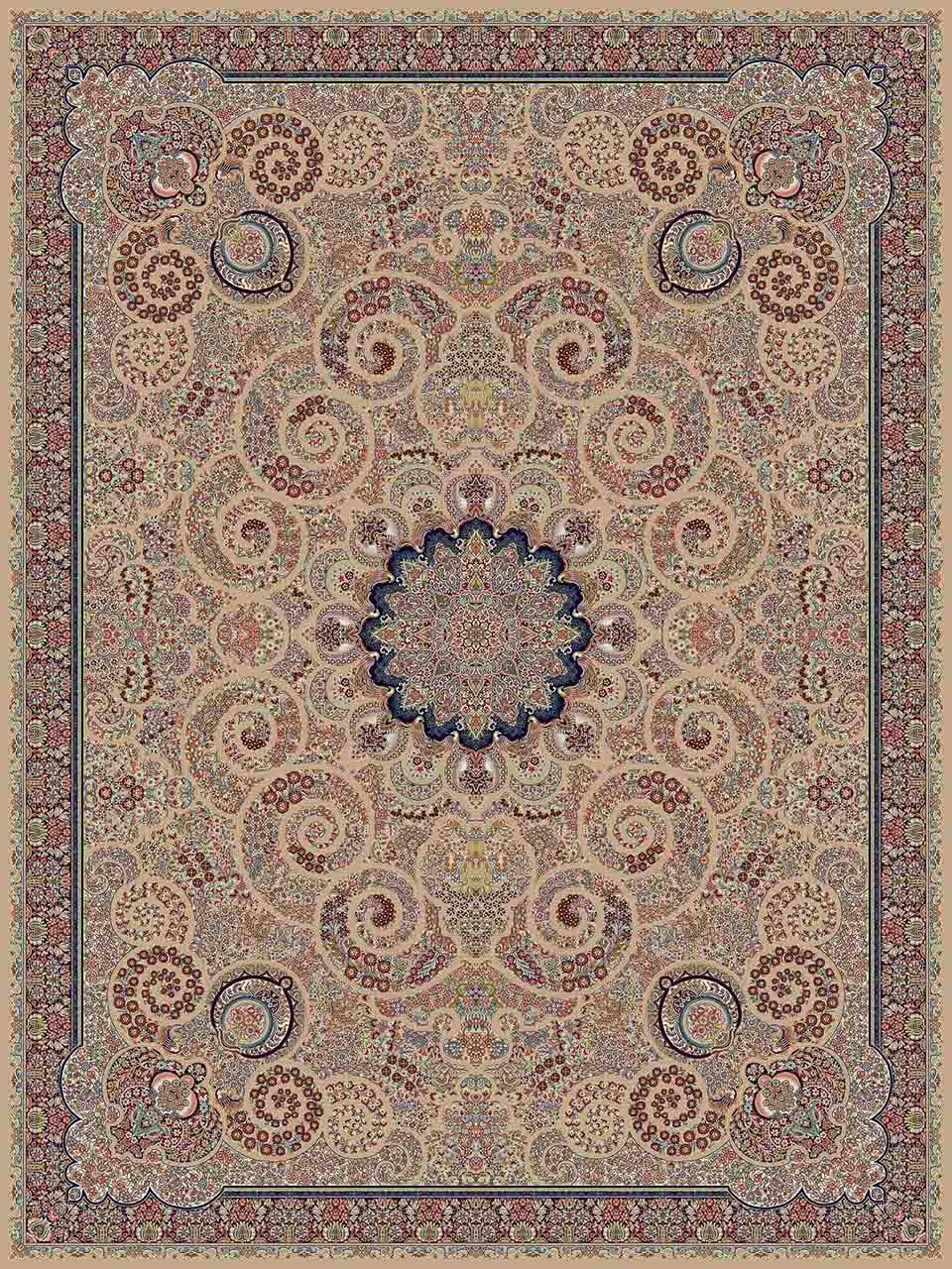فرش (14067) اکریلیک - 8 رنگ - 700 شانه - گردويي - تراکم 2100