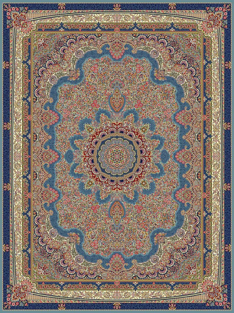 فرش (18116) اکریلیک - 8 رنگ - 500 شانه - آبي - تراکم 1000