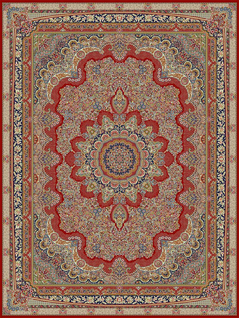 فرش (18116) اکریلیک - 8 رنگ - 500 شانه - لاكي - تراکم 1000