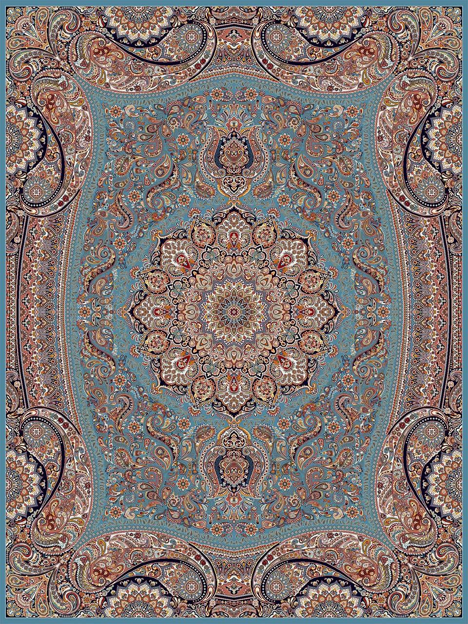 فرش (18122) اکریلیک - 8 رنگ - 500 شانه - آبي - تراکم 1000