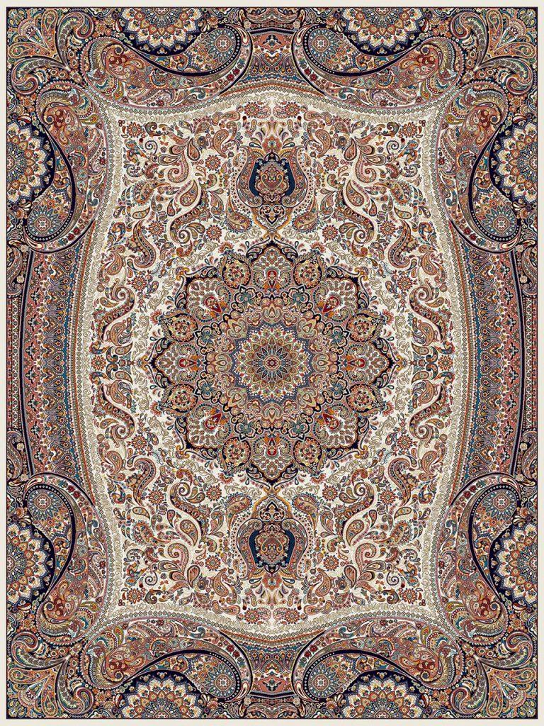 فرش (18122) اکریلیک - 8 رنگ - 500 شانه - كرم - تراکم 1000
