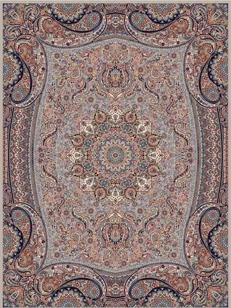 فرش (18122) اکریلیک - 8 رنگ - 500 شانه - موشي - تراکم 1000