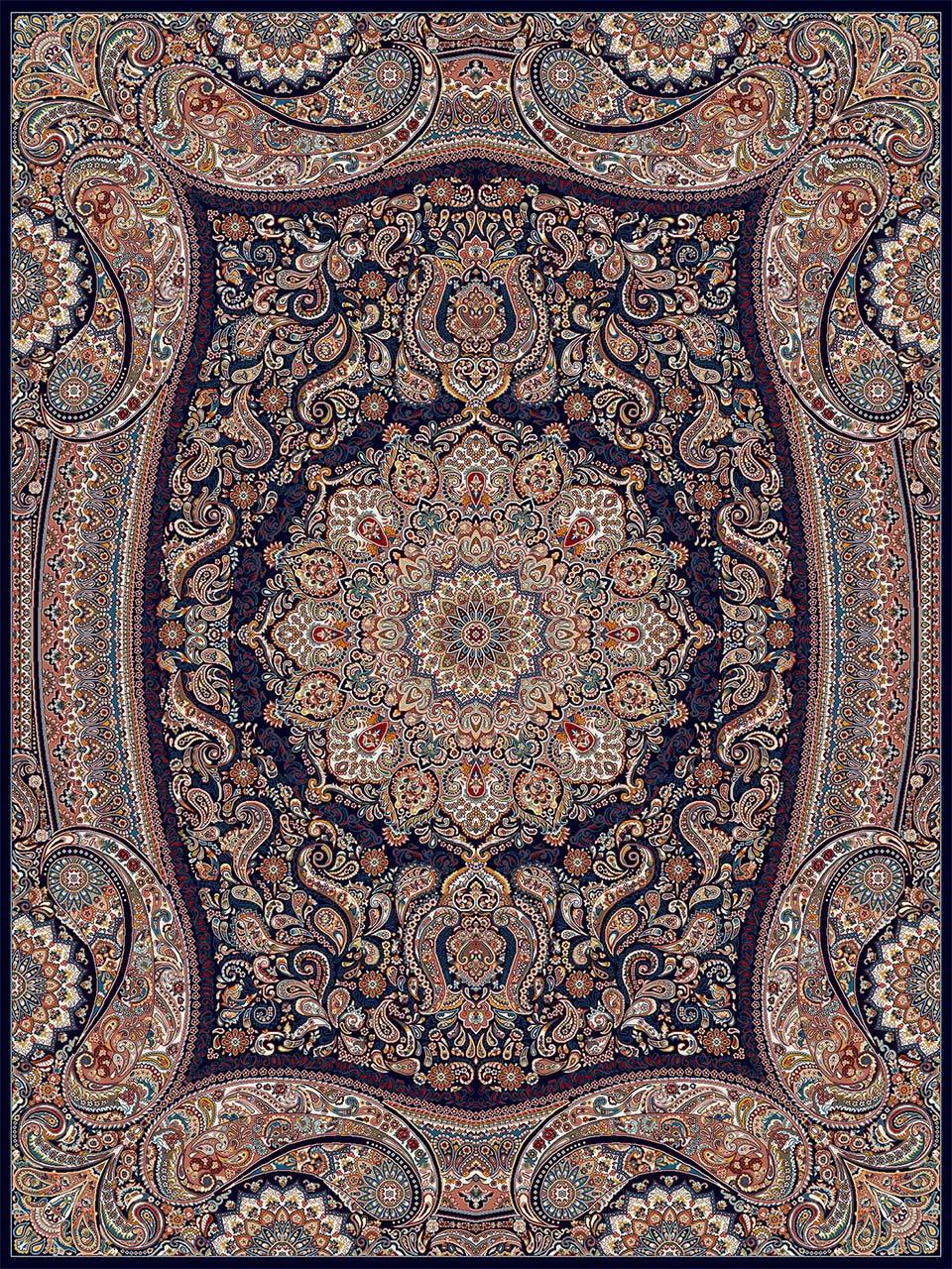 فرش (18122) اکریلیک - 8 رنگ - 500 شانه - سورمه اي - تراکم 1000