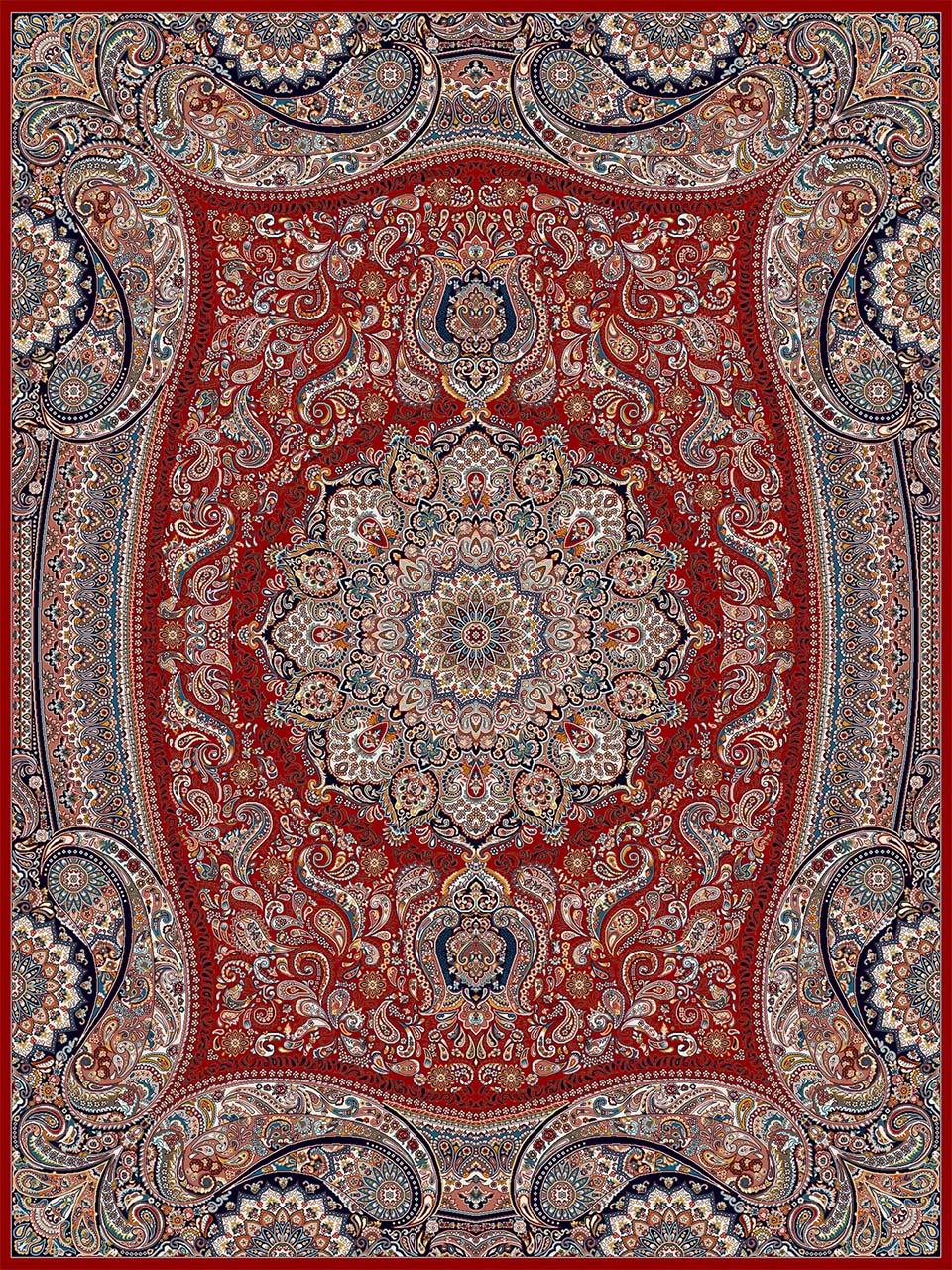 فرش (18122) اکریلیک - 8 رنگ - 500 شانه - لاكي - تراکم 1000