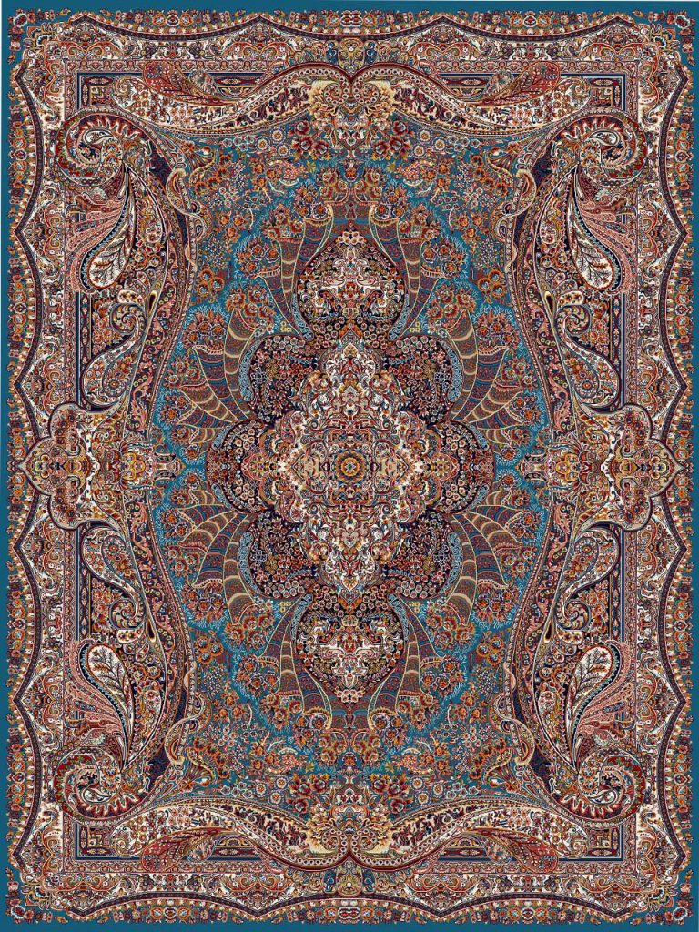 فرش (18123) اکریلیک - 8 رنگ - 500 شانه - آبي - تراکم 1000