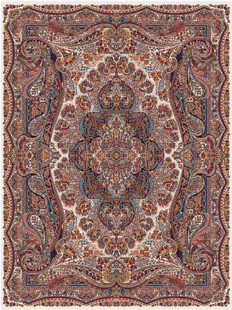 فرش (18123) اکریلیک - 8 رنگ - 500 شانه - كرم - تراکم 1000