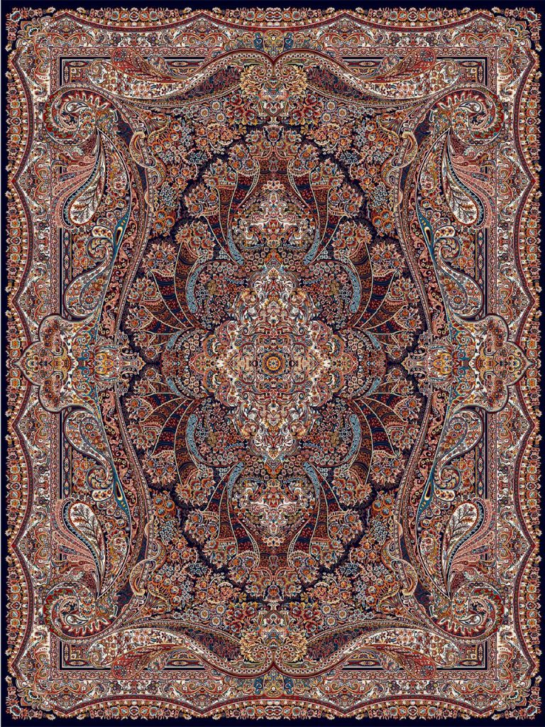 فرش (18123) اکریلیک - 8 رنگ - 500 شانه - سورمه اي - تراکم 1000