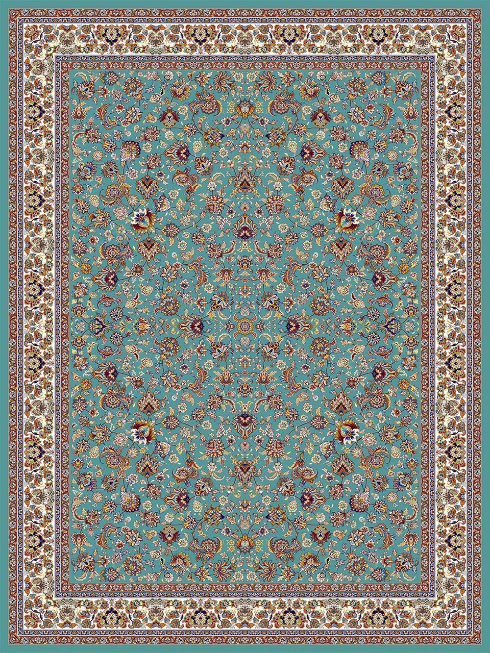 فرش (18126/1) اکریلیک - 8 رنگ - 500 شانه - آبي - تراکم 1000