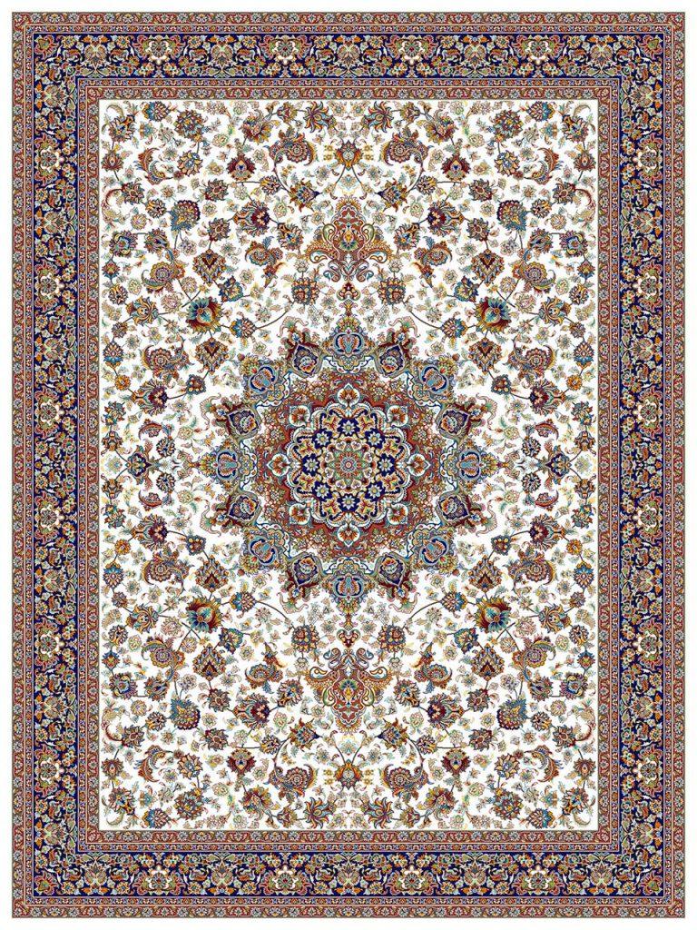 فرش (18127) اکریلیک - 8 رنگ - 500 شانه - كرم - تراکم 1000