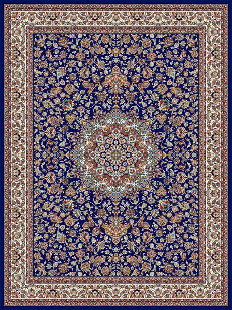 فرش (18127) اکریلیک - 8 رنگ - 500 شانه - سورمه اي - تراکم 1000