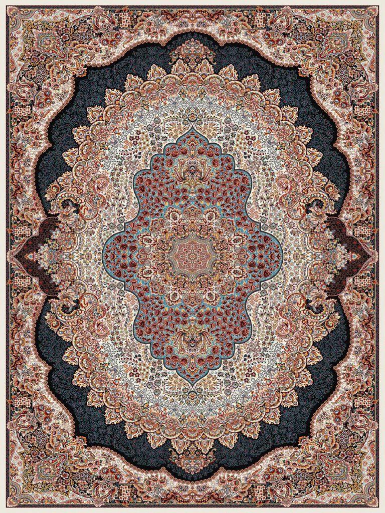 فرش (18130) اکریلیک - 8 رنگ - 500 شانه - كرم - تراکم 1000