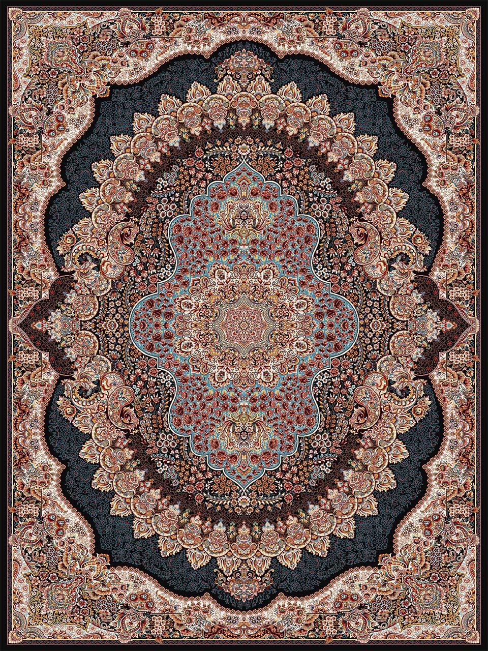 فرش (18130) اکریلیک - 8 رنگ - 500 شانه - سورمه اي - تراکم 1000