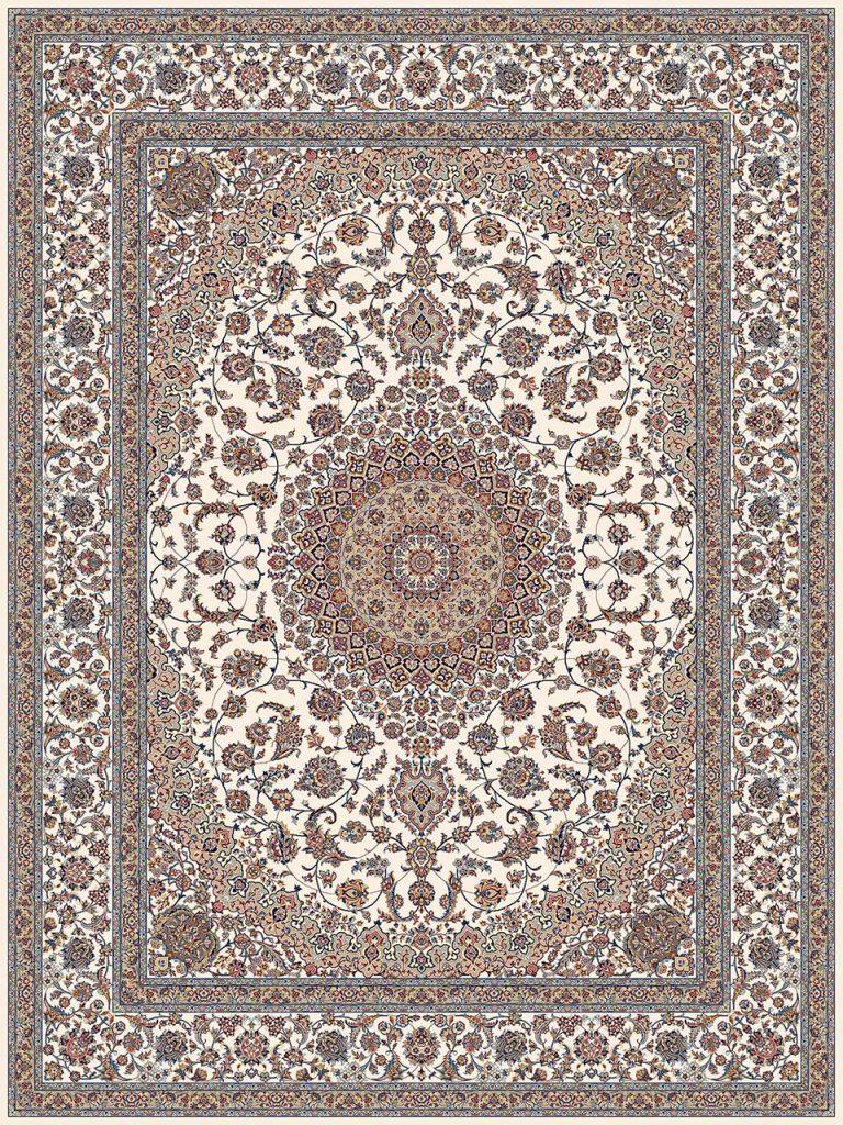 فرش (18131) اکریلیک - 8 رنگ - 500 شانه - كرم - تراکم 1000