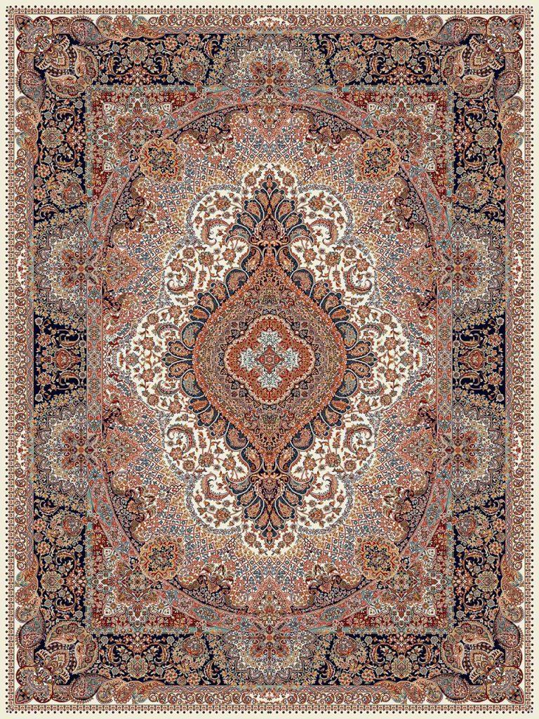 فرش (18132) اکریلیک - 8 رنگ - 500 شانه - كرم - تراکم 1000