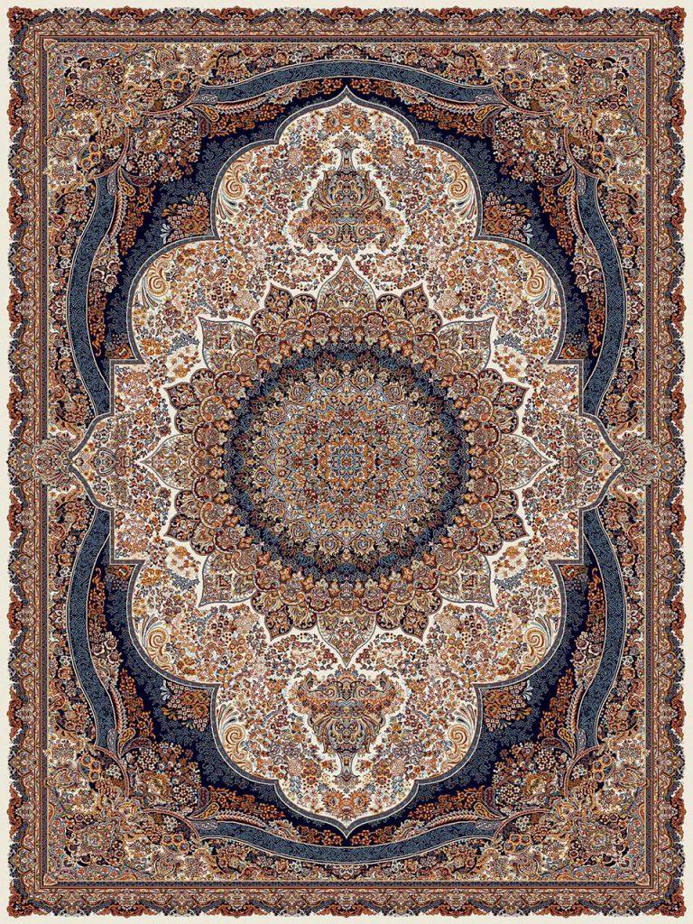 فرش (18133) اکریلیک - 8 رنگ - 500 شانه - كرم - تراکم 1000