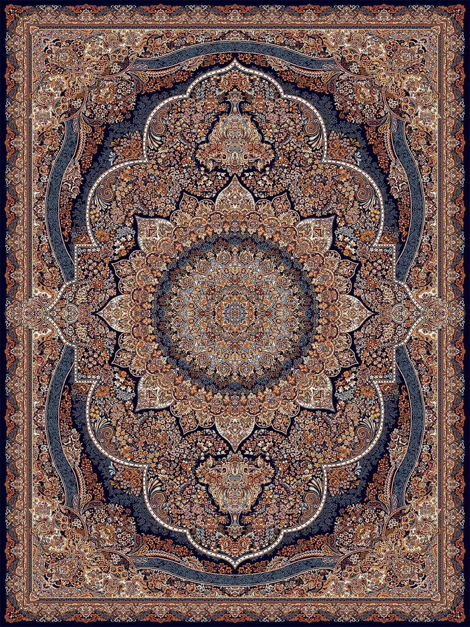 فرش (18133) اکریلیک - 8 رنگ - 500 شانه - سورمه اي - تراکم 1000