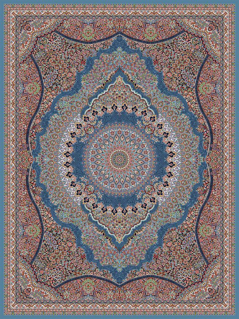 فرش (18134) اکریلیک - 8 رنگ - 500 شانه - آبي - تراکم 1000