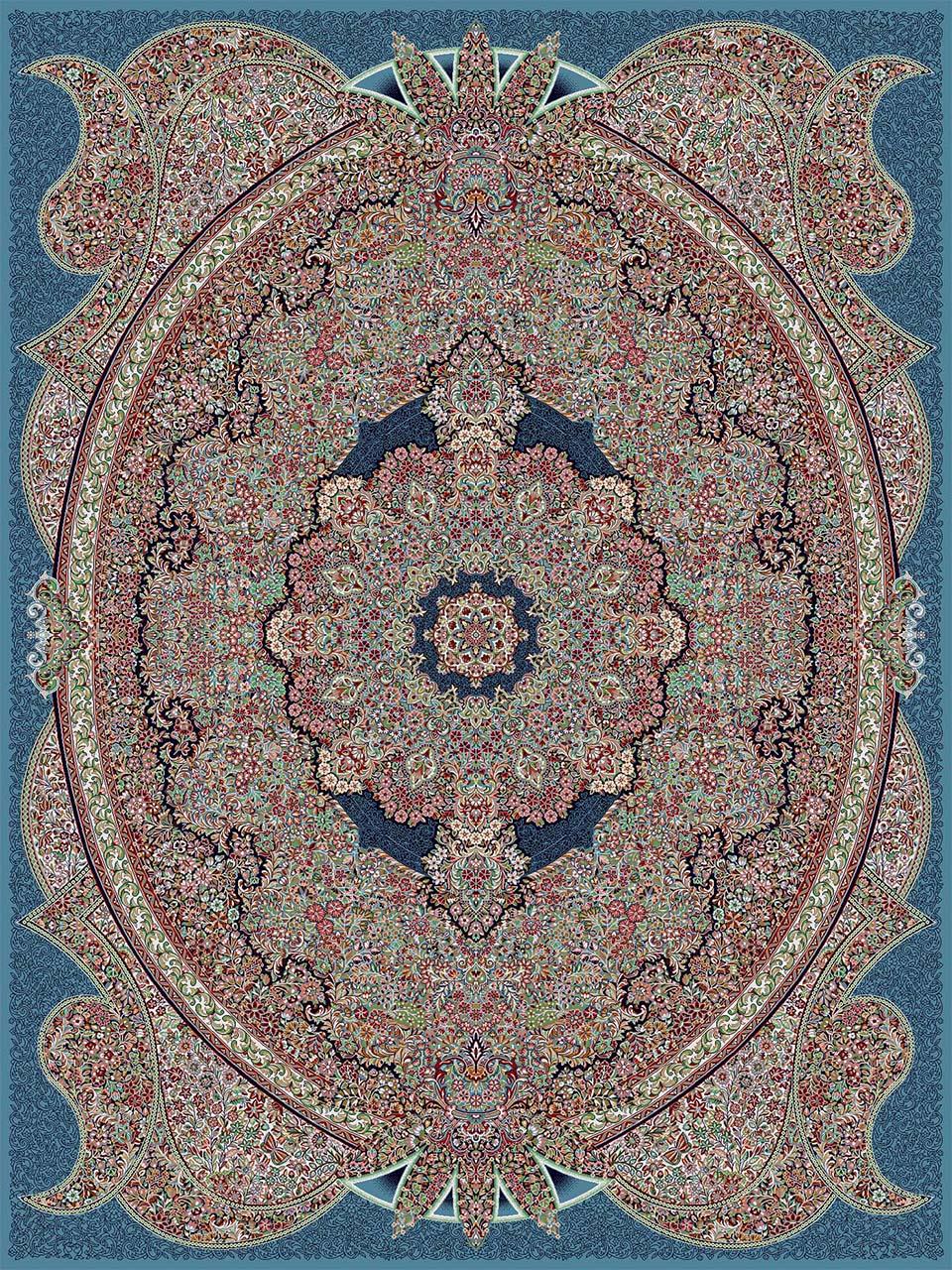 فرش (18135) اکریلیک - 8 رنگ - 500 شانه - آبي - تراکم 1000