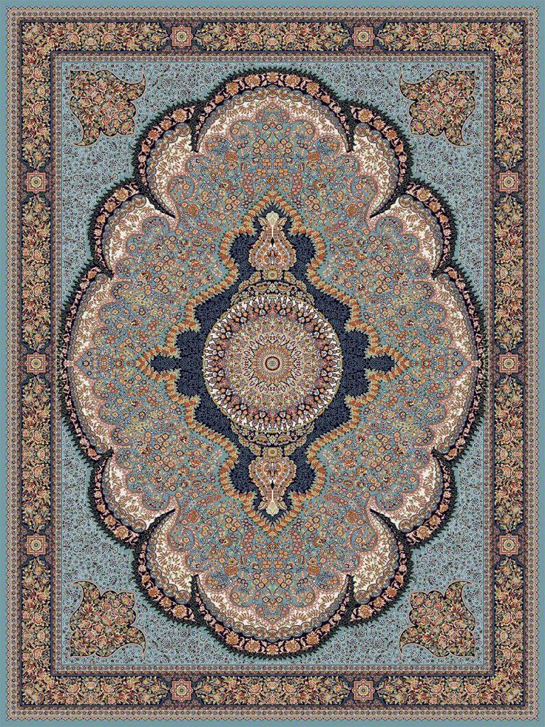 فرش (18138) اکریلیک - 8 رنگ - 500 شانه - آبي - تراکم 1000