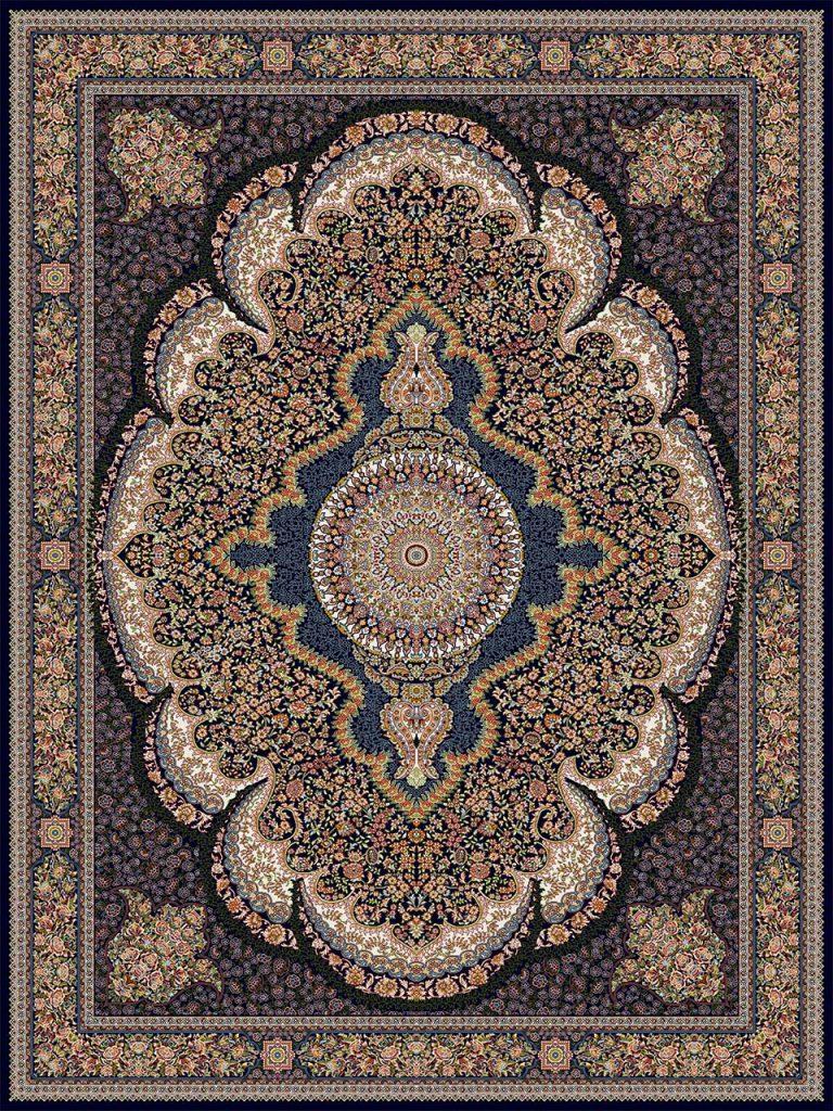 فرش (18138) اکریلیک - 8 رنگ - 500 شانه - سورمه اي - تراکم 1000