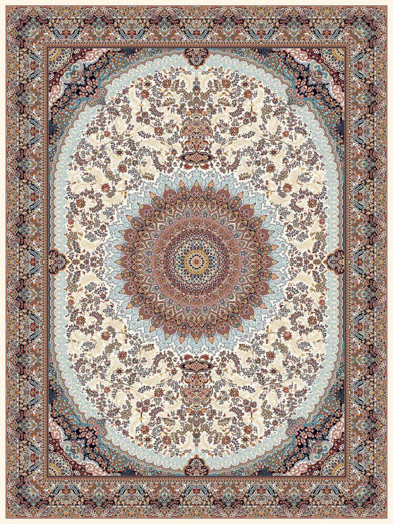 فرش (18139) اکریلیک - 8 رنگ - 500 شانه - كرم - تراکم 1000