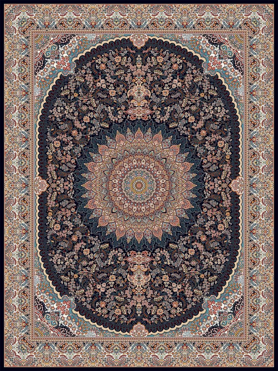 فرش (18139) اکریلیک - 8 رنگ - 500 شانه - سورمه اي - تراکم 1000