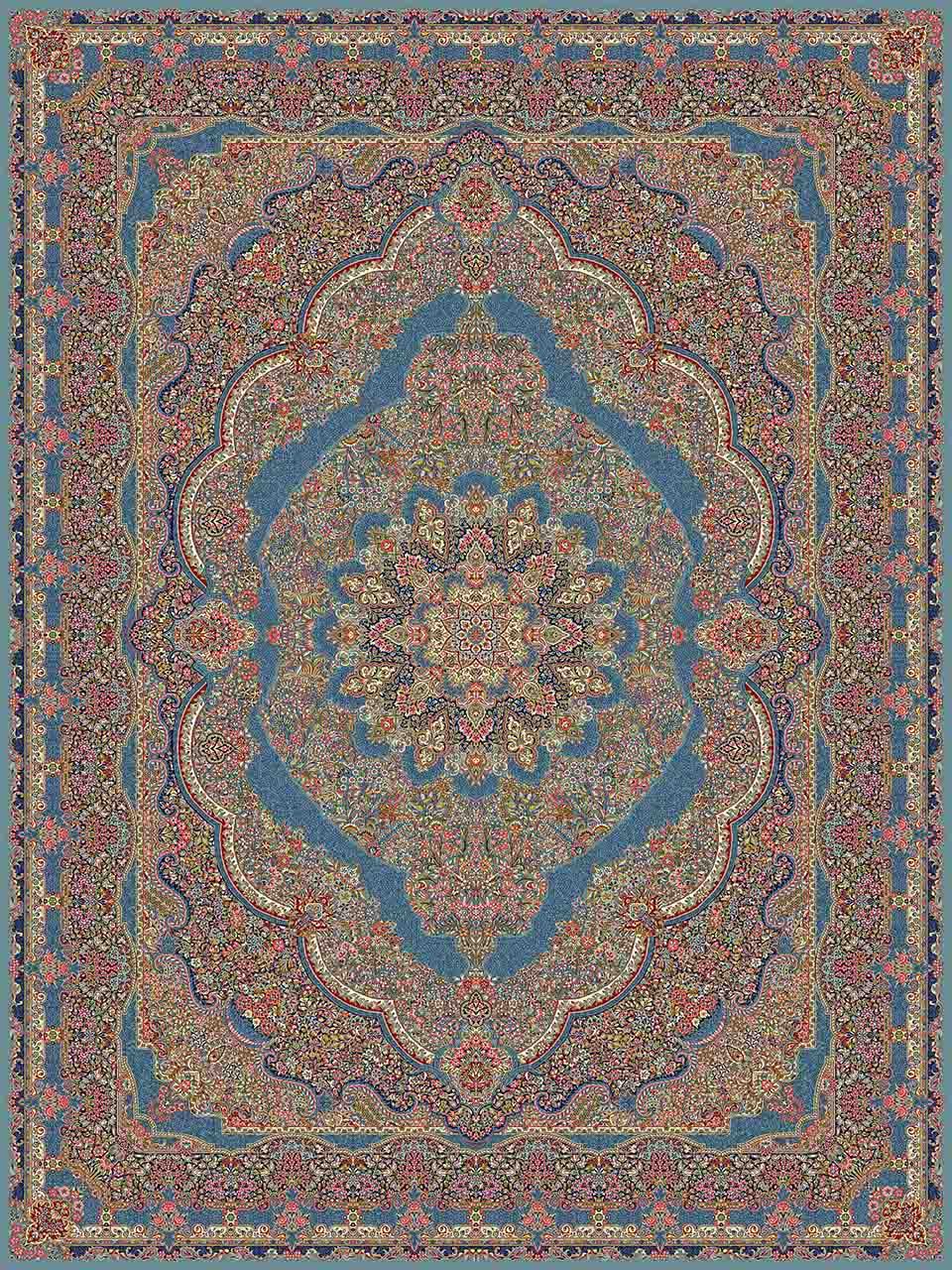 فرش (25004) اکریلیک - 8 رنگ - 700 شانه - آبي - تراکم 2550