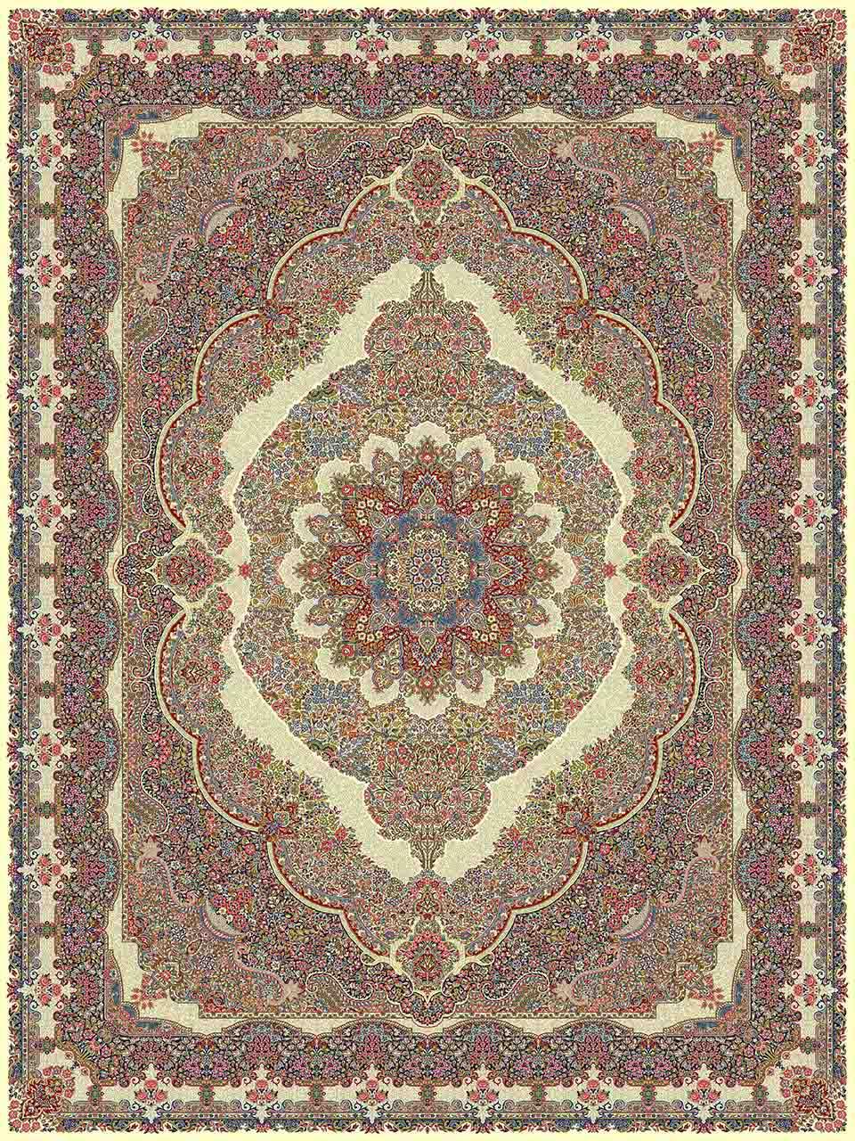 فرش (25004) اکریلیک - 8 رنگ - 700 شانه - كرم - تراکم 2550
