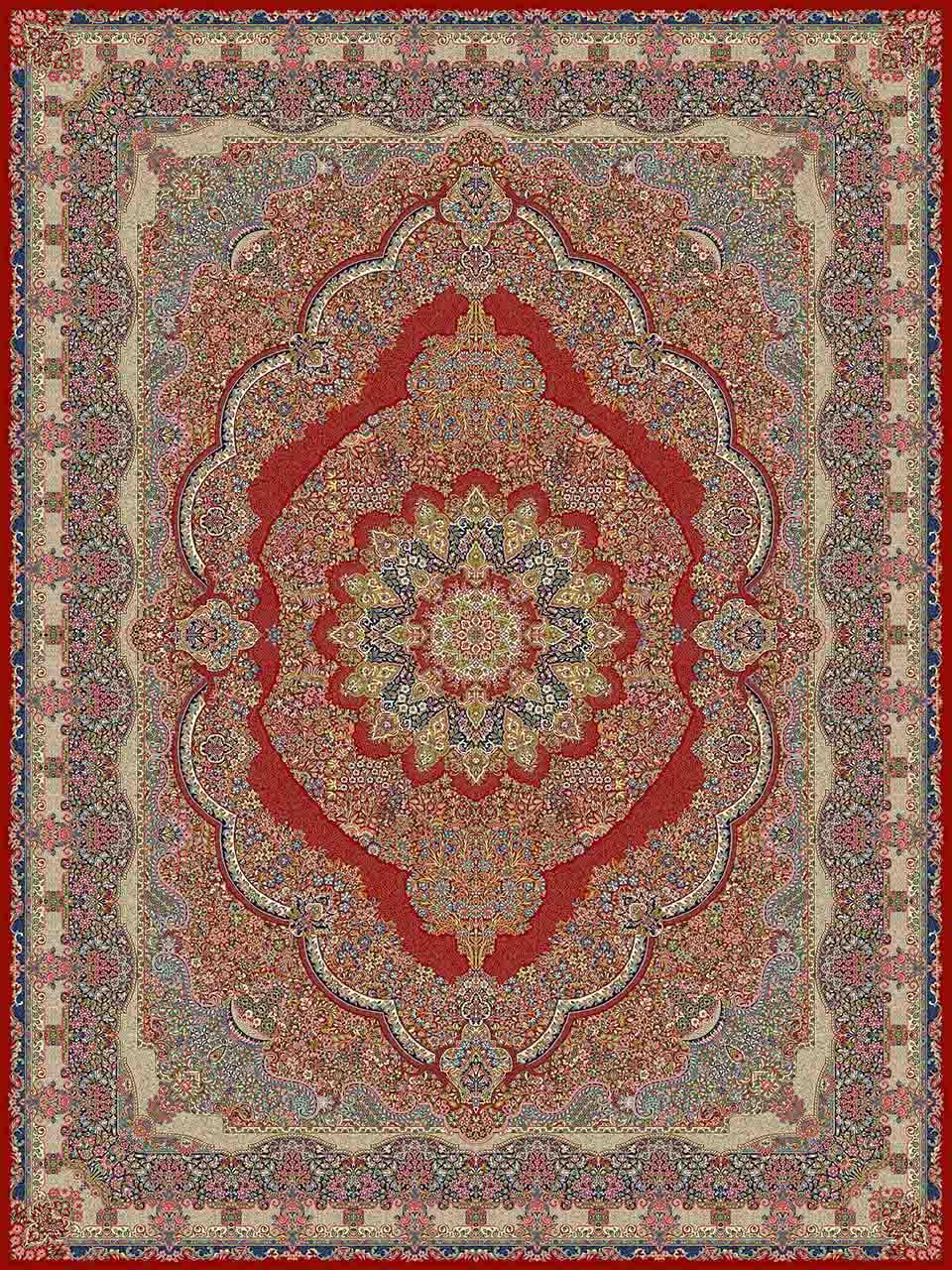 فرش (25004) اکریلیک - 8 رنگ - 700 شانه - لاكي - تراکم 2550