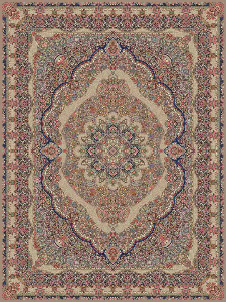 فرش (25004) اکریلیک - 8 رنگ - 700 شانه - گردويي - تراکم 2550