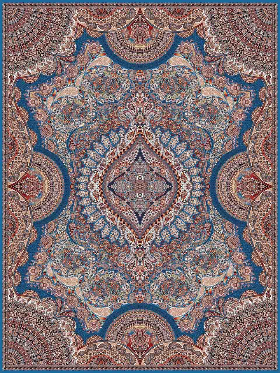 فرش (25009) اکریلیک - 8 رنگ - 700 شانه - آبي - تراکم 2550