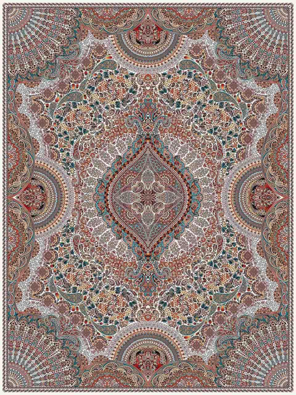فرش (25009) اکریلیک - 8 رنگ - 700 شانه - كرم آبي - تراکم 2550