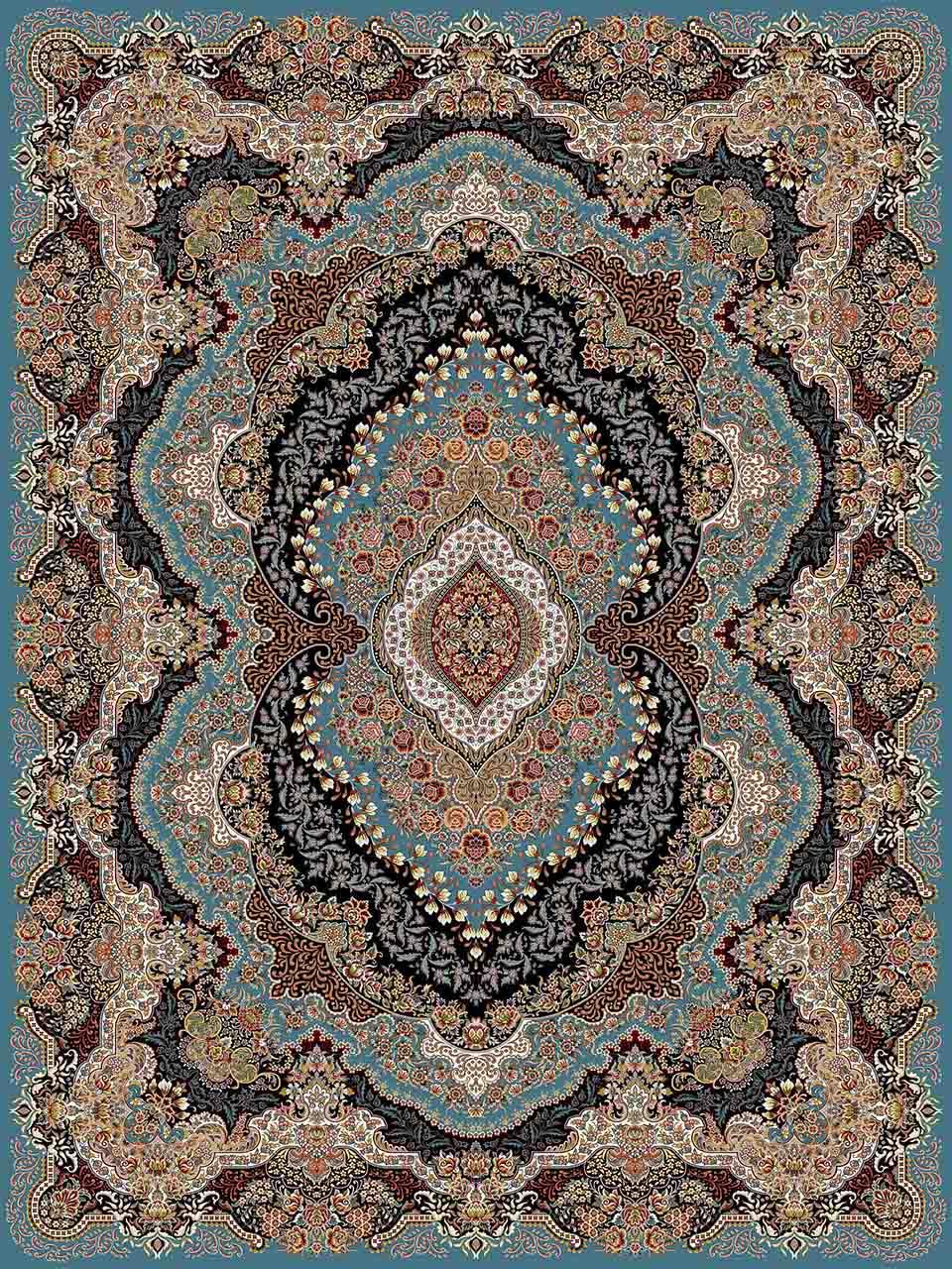 فرش (25011) اکریلیک - 8 رنگ - 700 شانه - آبي - تراکم 2550
