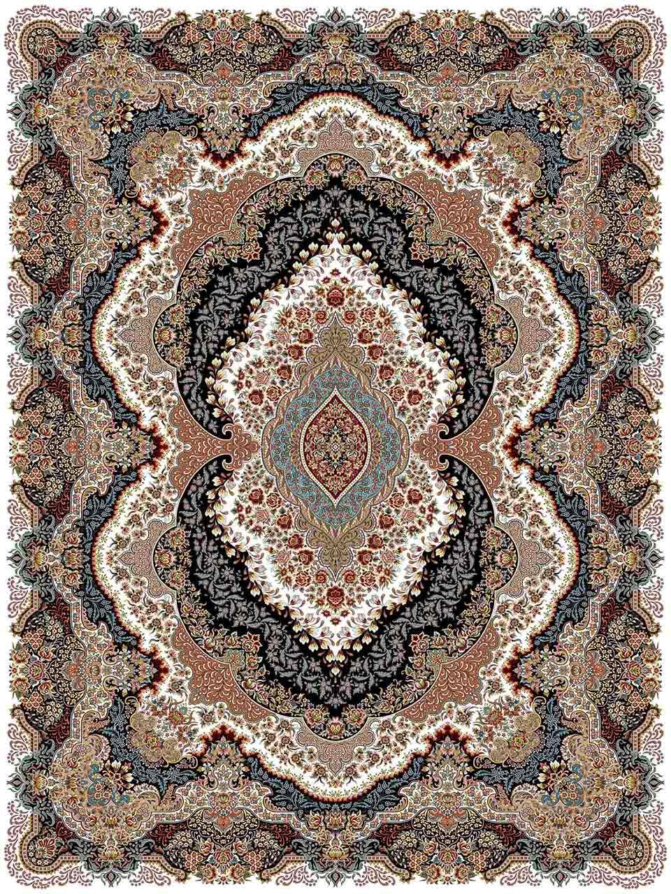 فرش (25011) اکریلیک - 8 رنگ - 700 شانه - كرم - تراکم 2550