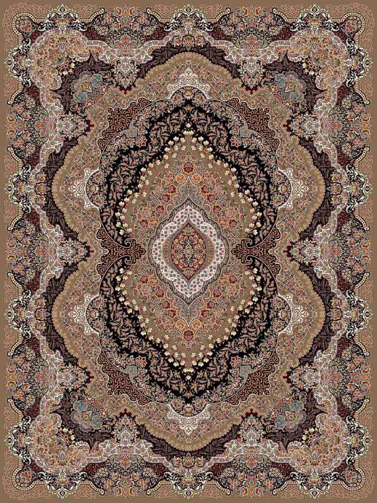 فرش (25011) اکریلیک - 8 رنگ - 700 شانه - گردويي - تراکم 2550