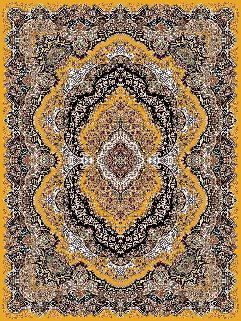 فرش (25011) اکریلیک - 8 رنگ - 700 شانه - زرد - تراکم 2550