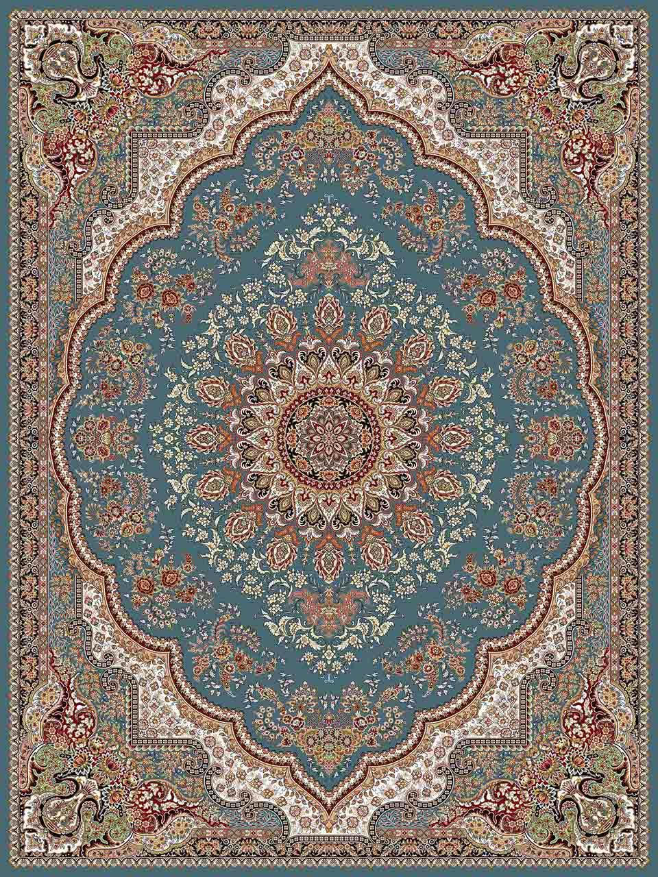 فرش (25012) اکریلیک - 8 رنگ - 700 شانه - آبي - تراکم 2550