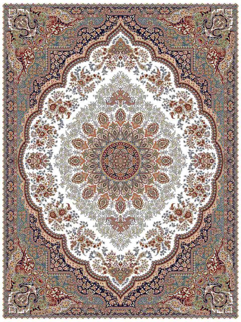 فرش (25012) اکریلیک - 8 رنگ - 700 شانه - كرم - تراکم 2550