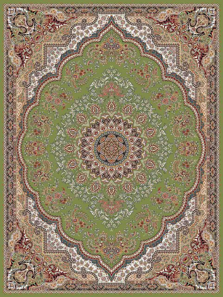 فرش (25012) اکریلیک - 8 رنگ - 700 شانه - سبز - تراکم 2550