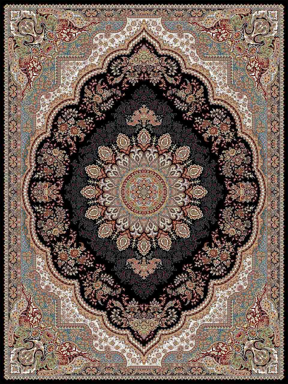 فرش (25012) اکریلیک - 8 رنگ - 700 شانه - سورمه اي - تراکم 2550