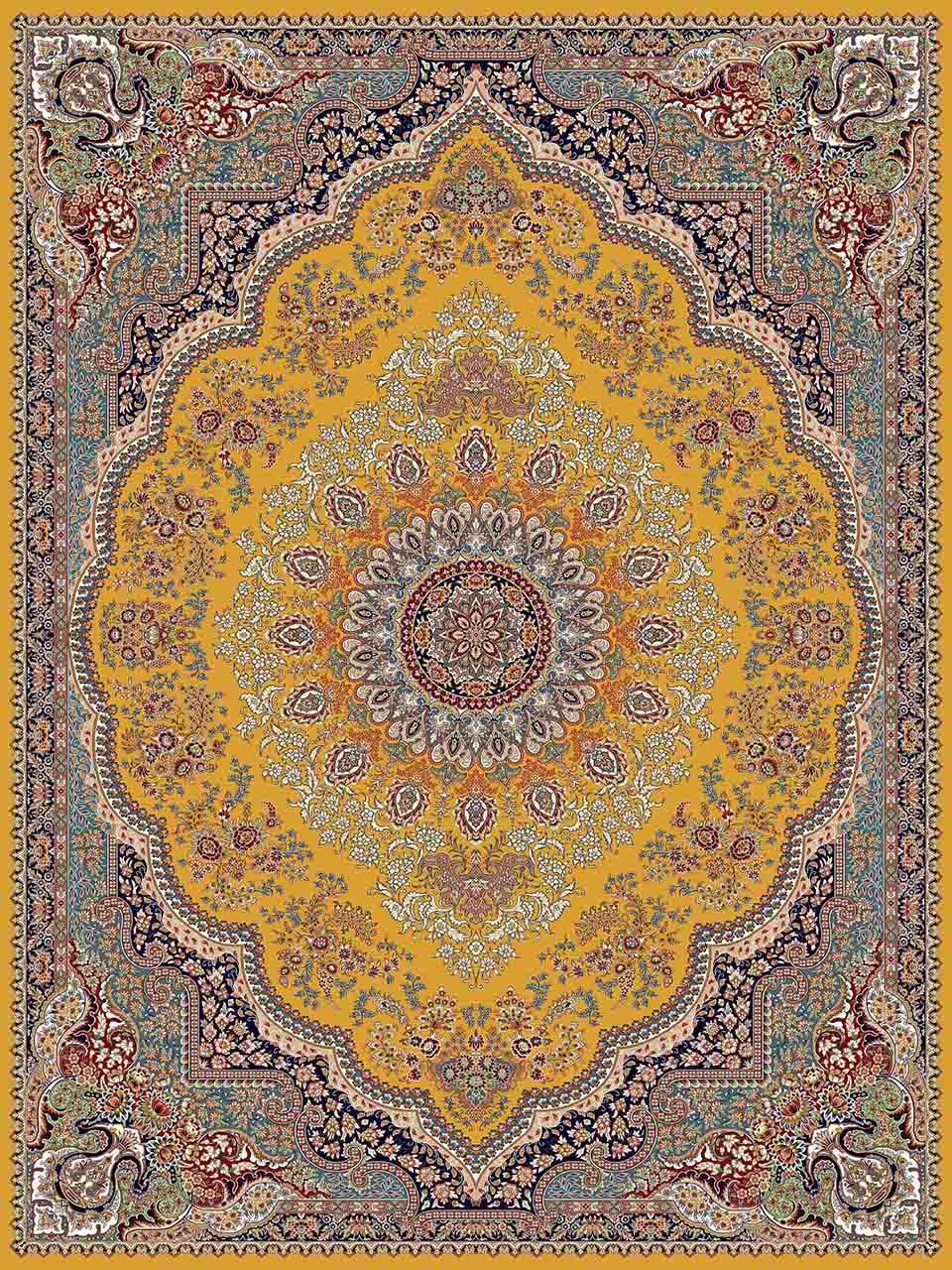 فرش (25012) اکریلیک - 8 رنگ - 700 شانه - زرد - تراکم 2550