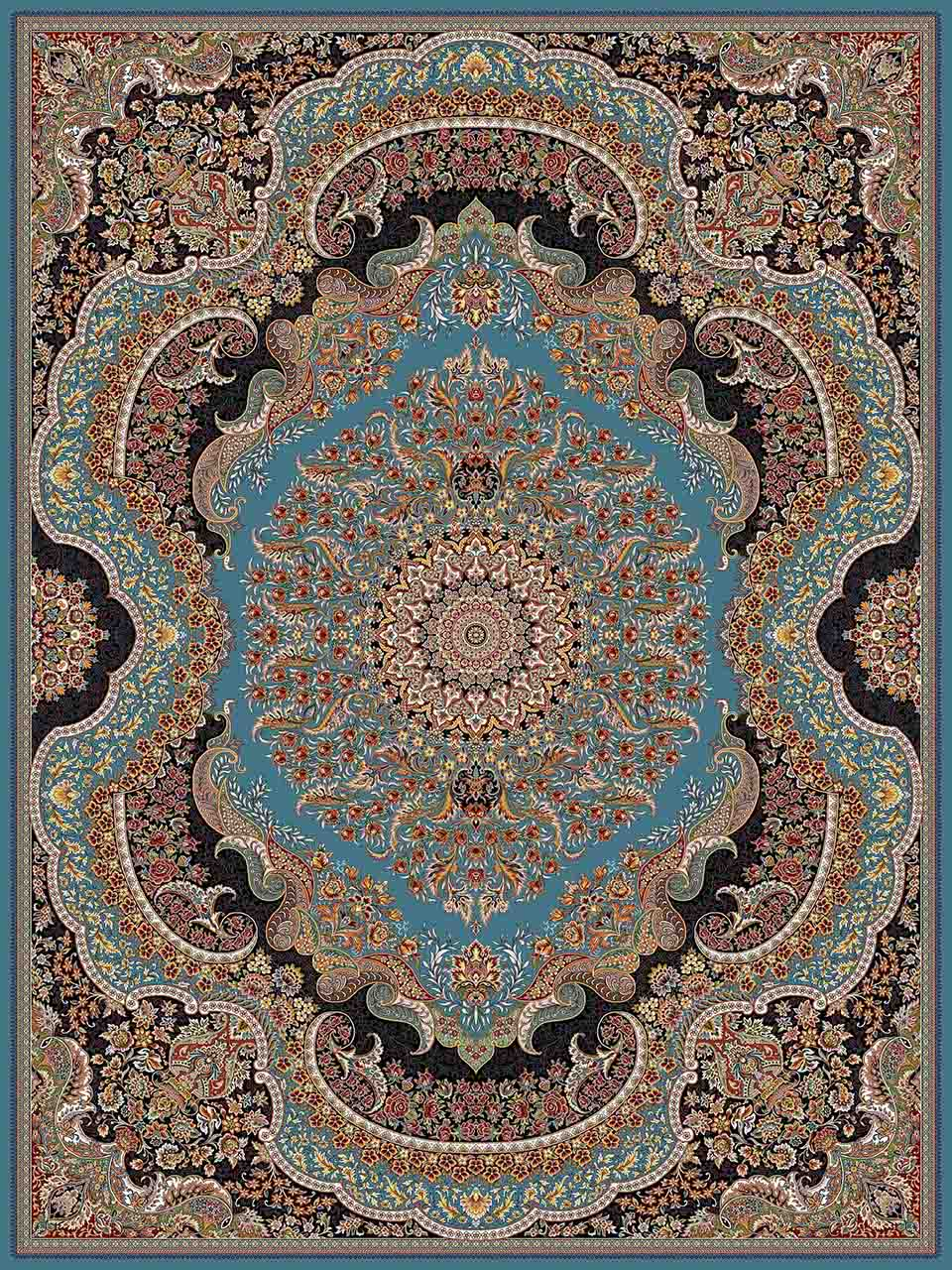 فرش (25014) اکریلیک - 8 رنگ - 700 شانه - آبي - تراکم 2550